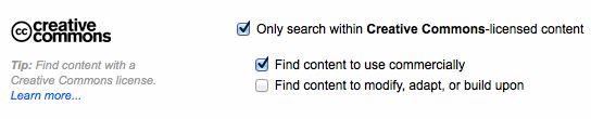 Image 7: Flickr's Creative Commons advanced search options.