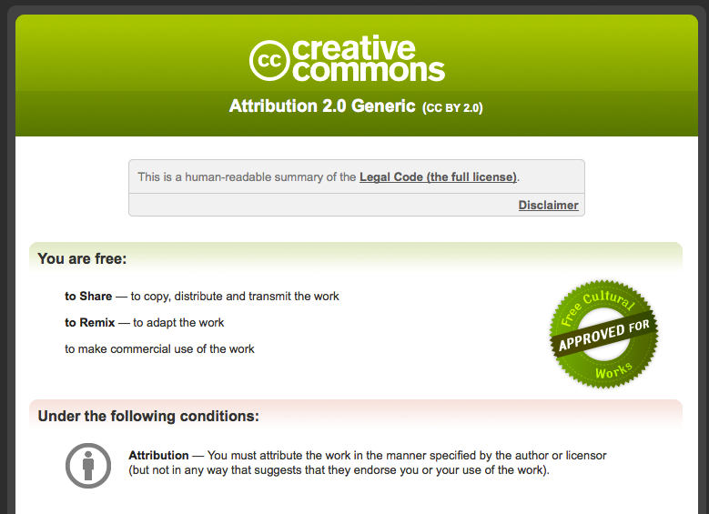 Image 9: An example of Flickr's Creative Commons license details page.