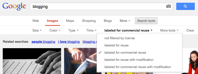 Image 4: Google adds a handy license drop-down after you use advanced search.