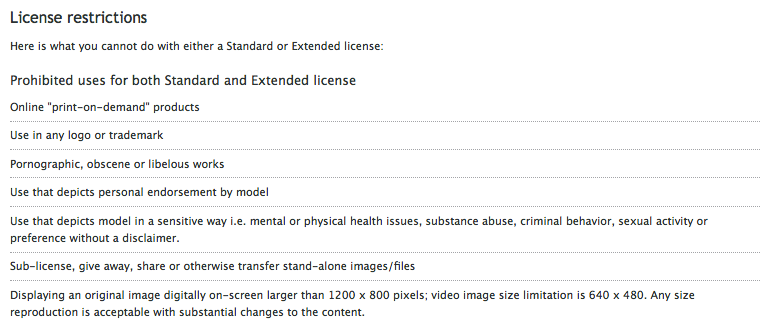 Image 14: An example of royalty free stock image license restrictions